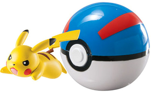 Pokemon Clip n Carry Pokeball Pikachu with Great Ball Figure Set