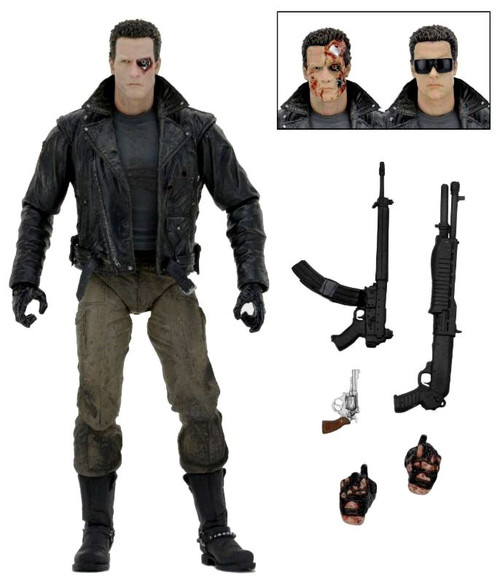 NECA Terminator T-800 Action Figure [Ultimate Version, Police Station Assault, Motorcycle Jacket]