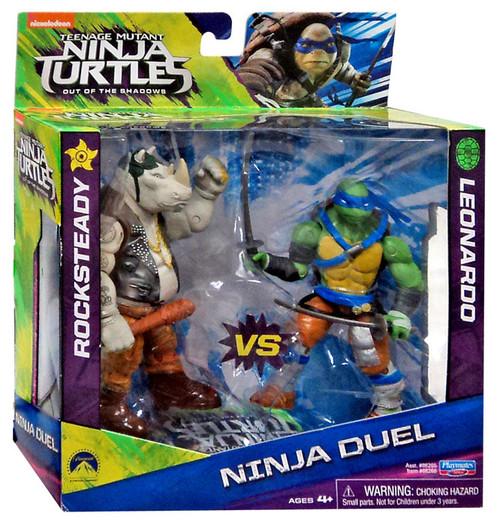 Teenage Mutant Ninja Turtles Out of the Shadows Rocksteady vs. Leonardo Action Figure 2-Pack [Ninja Duel]