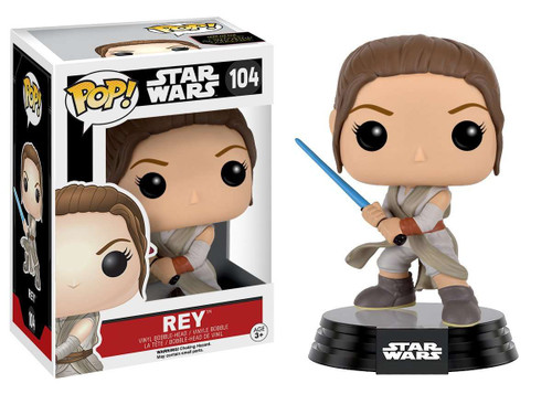 Funko The Force Awakens POP! Star Wars Rey (with Lightsaber) Vinyl Bobble Head #104 [EP7]