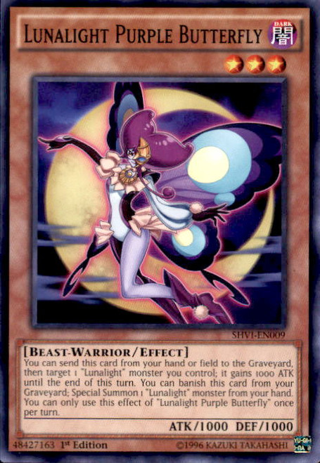 YuGiOh Shining Victories Common Lunalight Purple Butterfly SHVI-EN009