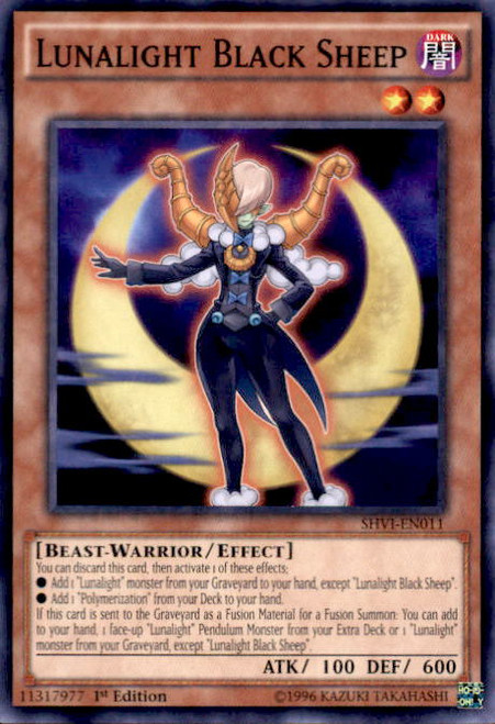 YuGiOh Shining Victories Common Lunalight Black Sheep SHVI-EN011