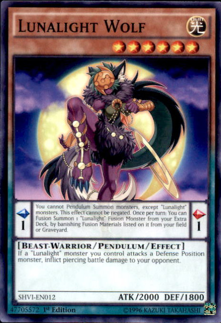 YuGiOh Shining Victories Common Lunalight Wolf SHVI-EN012