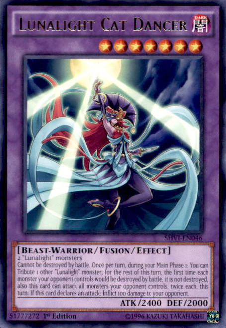 YuGiOh Shining Victories Rare Lunalight Cat Dancer SHVI-EN046