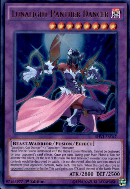 YuGiOh Shining Victories Ultra Rare Lunalight Panther Dancer SHVI-EN047
