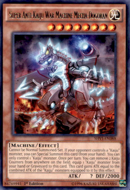 YuGiOh Shining Victories Rare Super Anti-Kaiju War Machine Mecha-Dogoran SHVI-EN088