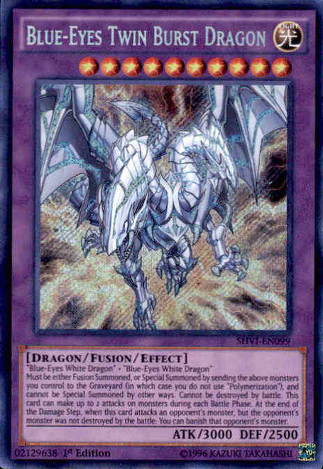 YuGiOh Shining Victories Secret Rare Blue-Eyes Twin Burst Dragon SHVI-EN099