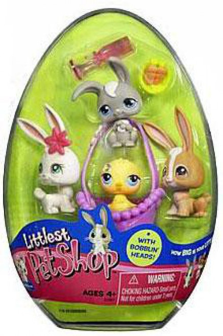 Littlest Pet Shop Spring Egg 4-Pack with 3 Bunnies & 1 Chick Figure 4-Pack