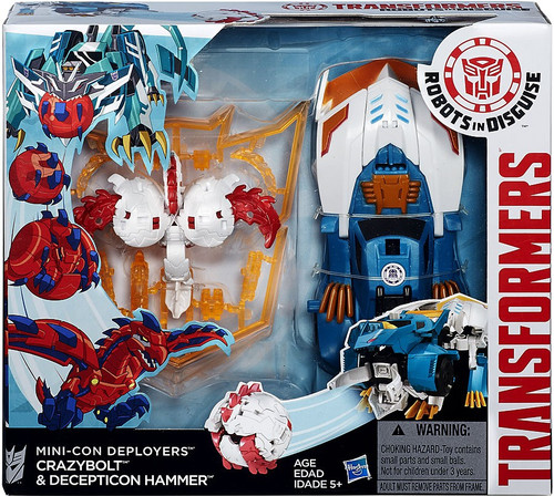 Transformers Robots in Disguise Minicon Deployers Crazybolt & Decepticon Hammer Action Figure