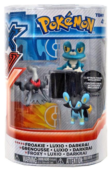 Pokemon XY Basic Froakie, Luxio & Darkrai Figure 3-Pack