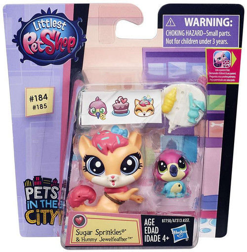 Littlest Pet Shop Pets in the City Sugar Sprinkles & Hummy Jewelfeather Figure 2-pack