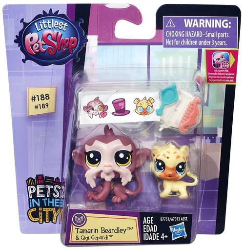 Littlest Pet Shop Pets in the City Tamarin Beardley & Gigi Gepardi Figure 2-pack