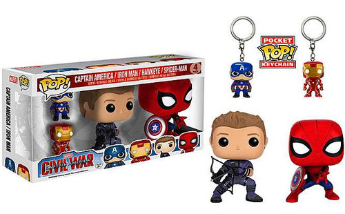 Funko POP! Marvel Captain America 3: Civil War 4-Pack Vinyl Bobble Heads [Captain America, Iron Man, Hawkeye & Spider-Man]