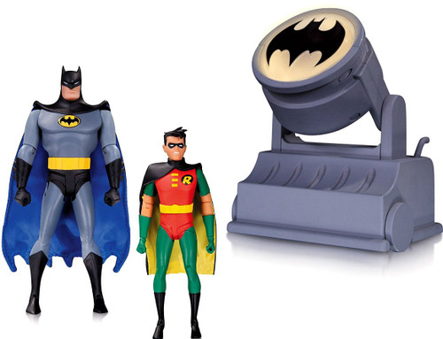 The Animated Series Batman & Robin with Batsignal Action Figure Set