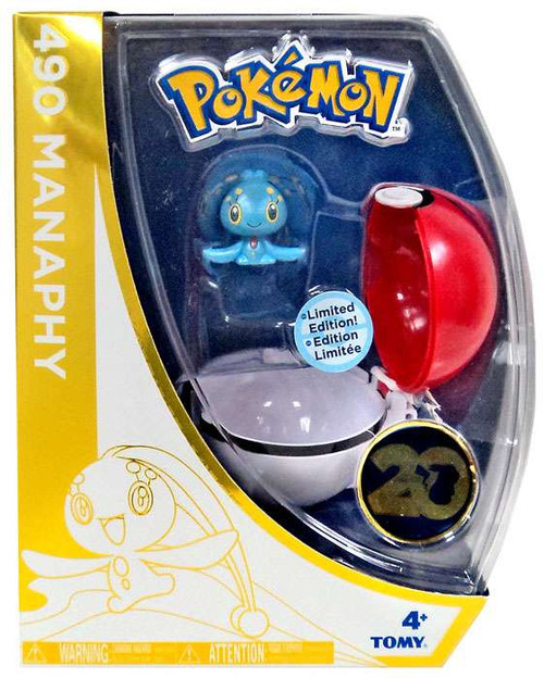Pokemon 20th Anniversary Clip n Carry Pokeball Manaphy with Poke Ball Figure Set [20th Anniversary]