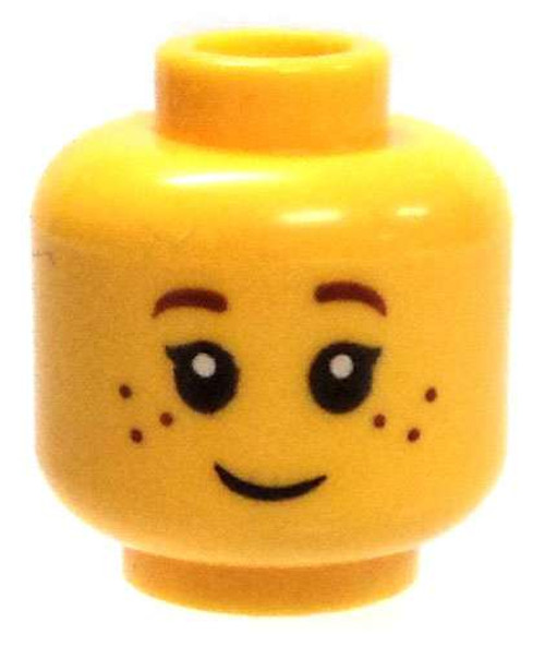 Yellow Female Child with Smile Minifigure Head [Loose]