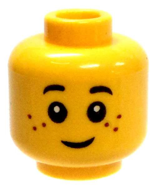 Yellow Male Child with Smile / Frown Minifigure Head [Dual-Sided Print Loose]