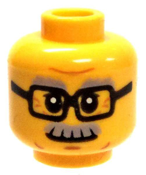 Yellow Male with Glasses & Gray Moustache Minifigure Head [Loose]