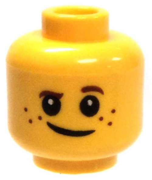 Yellow Male Child with One Eyebrow Up Minifigure Head [Loose]