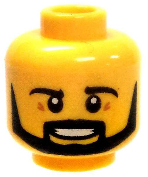 Yellow Male with Thick Black Beard Minifigure Head [Loose]