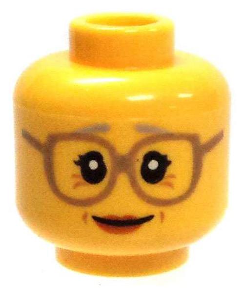 Yellow Female Dark Tan Frame Glasses with Crows Feet Minifigure Head [Loose]