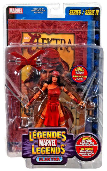 Marvel Legends Series 4 Elektra Action Figure [Foil Print Variant, Multilingual Package]