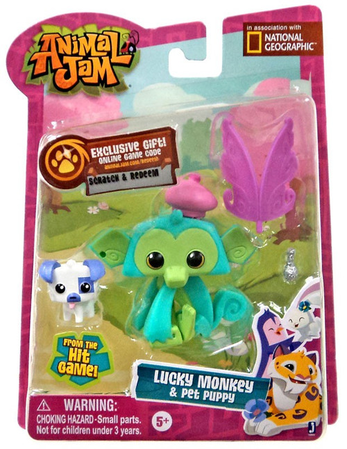 Animal Jam Lucky Monkey & Pet Puppy Mini Figure 2-Pack