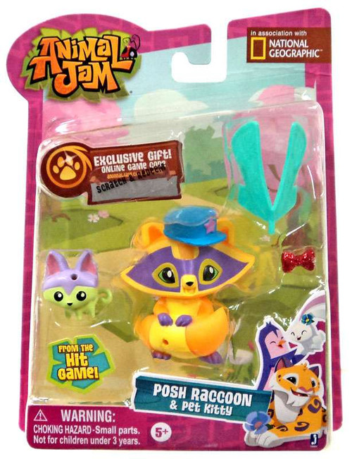 Animal Jam Posh Raccoon & Pet Kitty Mini Figure 2-Pack