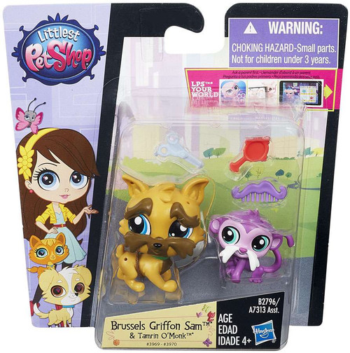 Littlest Pet Shop Pets in the City Brussels Griffon Sam & Tamrin O'Monk Figure 2-pack