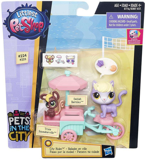 Littlest Pet Shop City Rides Trixie Squeakerville & Delilah Barnsley Vehicle & Figure