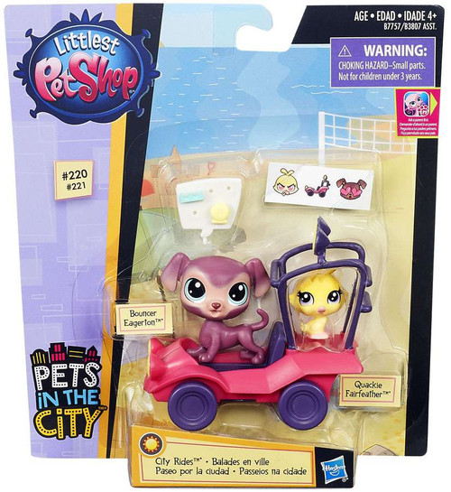 Littlest Pet Shop City Rides Bouncer Eagerton & Quackie Fairfeather Vehicle & Figure