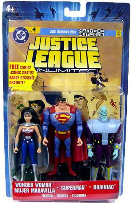 Justice League Unlimited Wonder Woman, Superman & Brainiac Exclusive Action Figure 3-Pack [Metallic]