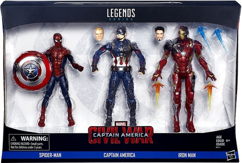 Captain America Civil War Marvel Legends Spider-Man, Captain America & Iron Man Action Figure 3-Pack
