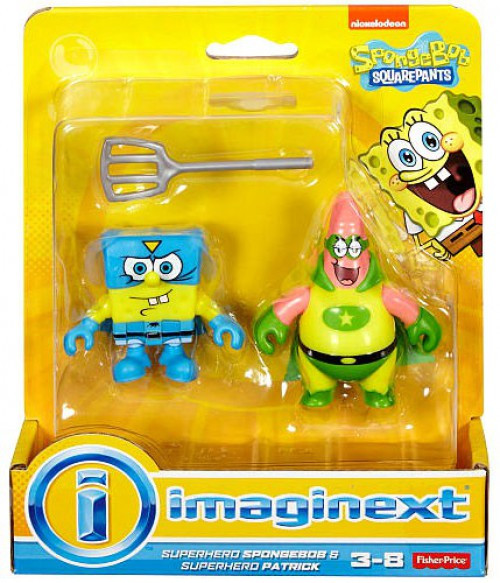 Fisher Price Spongebob Squarepants Imaginext Superhero Spongebob & Patrick Mini Figure 2-Pack