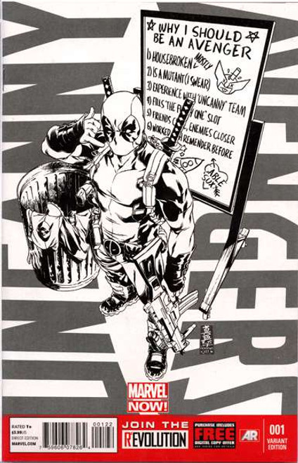 Uncanny Avengers #1 Variant Incentive Sketch Cover Comic Book [Deadpool Call Me Maybe]