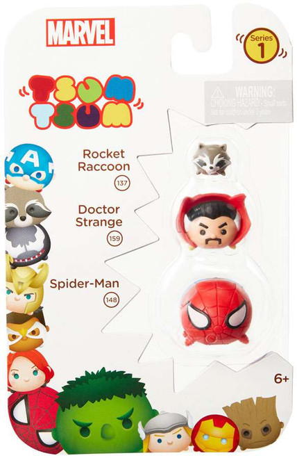 Marvel Tsum Tsum Series 1 Rocket Raccoon, Doctor Strange & Spider-Man 1-Inch Minifigure 3-Pack #137, 159 & 148