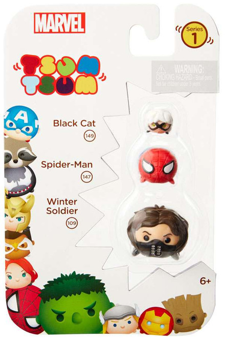 Marvel Tsum Tsum Series 1 Black Cat, Spider-Man & Winter Soldier 1-Inch Minifigure 3-Pack #149, 147 & 109