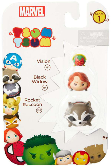 Marvel Tsum Tsum Series 1 Vision, Black Widow & Rocket Raccoon 1-Inch Minifigure 3-Pack #131, 114 & 139