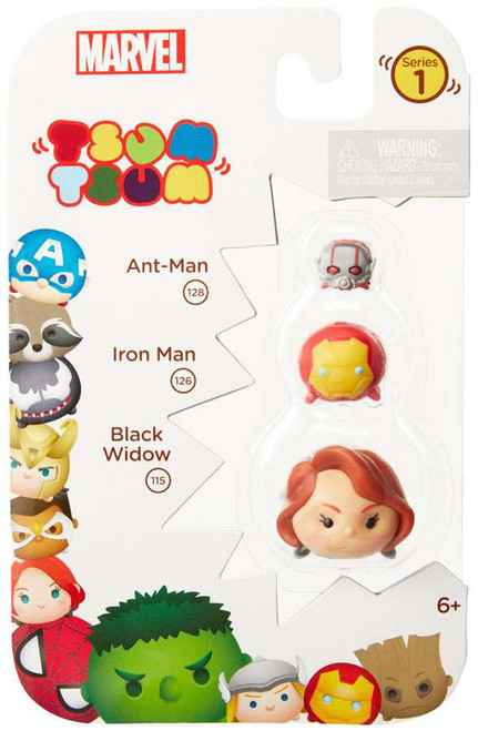 Marvel Tsum Tsum Series 1 Ant-Man, Iron Man & Black Widow 1-Inch Minifigure 3-Pack #128, 126 & 115
