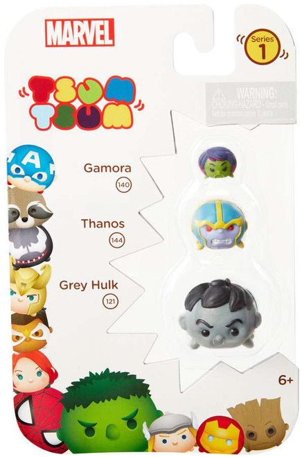 Marvel Tsum Tsum Series 1 Gamora, Thanos & Grey Hulk 1-Inch Minifigure 3-Pack #140, 144 & 121