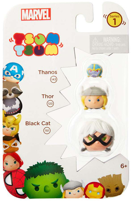 Marvel Tsum Tsum Series 1 Thanos, Thor & Black Cat 1-Inch Minifigure 3-Pack #143, 123 & 151