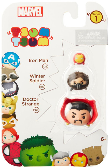 Marvel Tsum Tsum Series 1 Iron Man, Winter Soldier & Doctor Strange 1-Inch Minifigure 3-Pack #125, 108 & 160