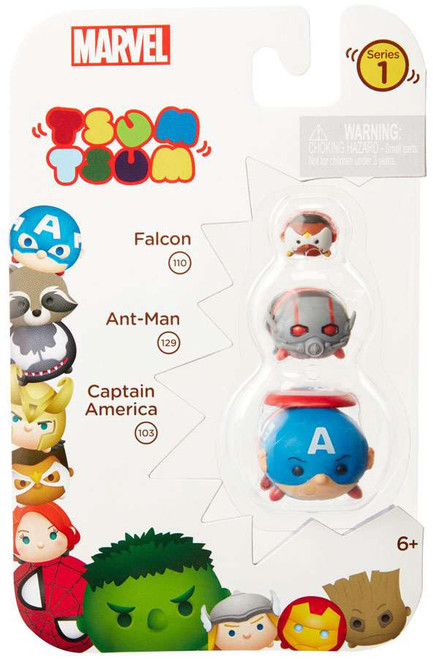 Marvel Tsum Tsum Series 1 Falcon, Ant-Man & Captain America 1-Inch Minifigure 3-Pack #110, 129 & 103