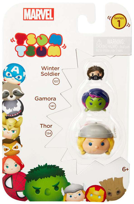 Marvel Tsum Tsum Series 1 Winter Soldier, Gamora & Thor 1-Inch Minifigure 3-Pack #107, 141 & 124