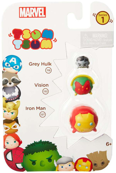 Marvel Tsum Tsum Series 1 Grey Hulk, Vision & Iron Man 1-Inch Minifigure 3-Pack #119, 132 & 127