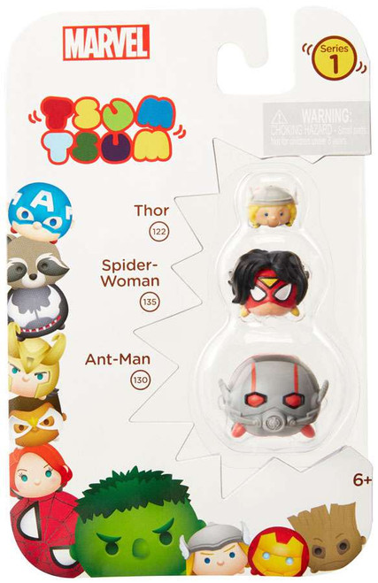 Marvel Tsum Tsum Series 1 Thor, Spider-Woman & Ant-Man 1-Inch Minifigure 3-Pack #122, 135 & 130
