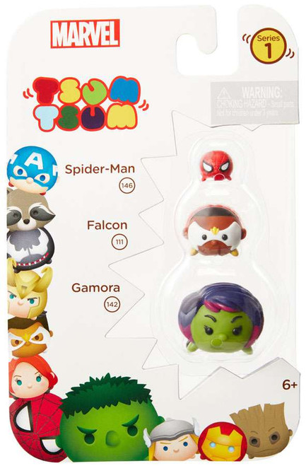 Marvel Tsum Tsum Series 1 Spider-Man, Falcon & Gamora 1-Inch Minifigure 3-Pack #146, 111 & 142