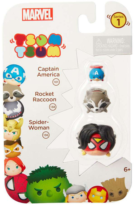 Marvel Tsum Tsum Series 1 Captain America, Rocket Raccoon & Spider-Woman 1-Inch Minifigure 3-Pack #101, 138 & 136