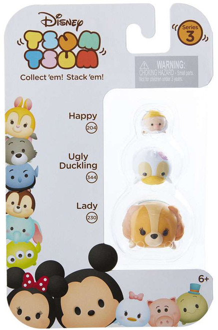 Disney Tsum Tsum Series 3 Happy, Ugly Duckling & Lady Minifigure 3-Pack #204, 344 & 230