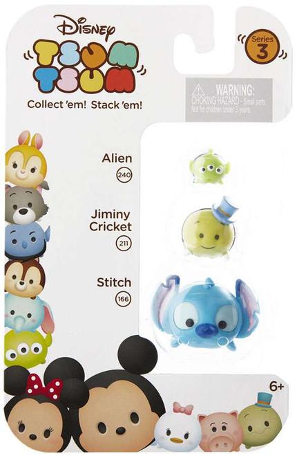 Disney Tsum Tsum Series 3 Alien, Jiminy Cricket & Stitch Minifigure 3-Pack #240, 211 & 166